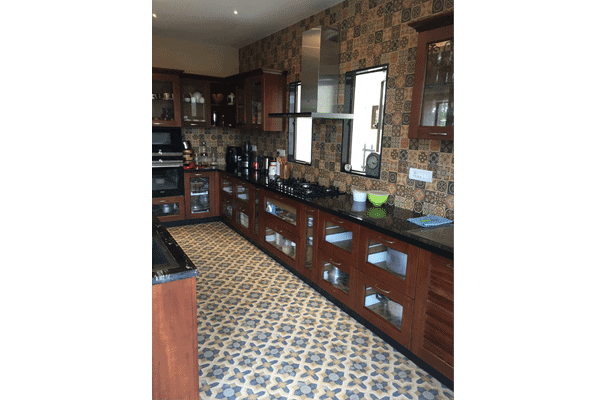 Teak wood modular kitchen
