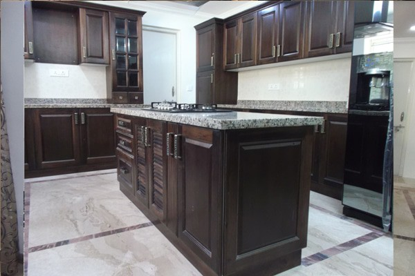 Wood kitchen with island Chennai