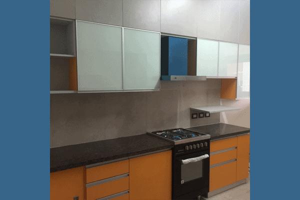 Modular kitchen with laminate