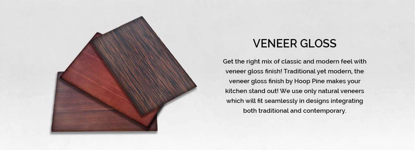 Cabinet with veneer finish